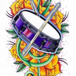 彩绘水彩素描唯美玫瑰文艺鼓纹身手稿图片