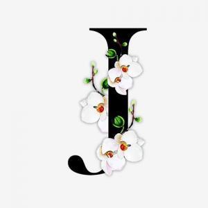 中国风花朵字母J纹身手稿图片