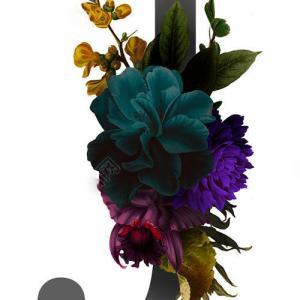 彩色花卉英文字母J纹身手稿图片