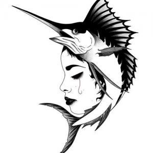创意女人剑鱼纹身手稿图片