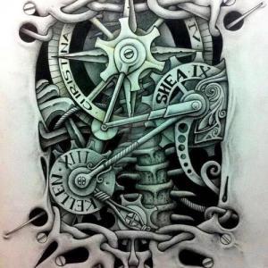 3d机械臂纹身手稿图片