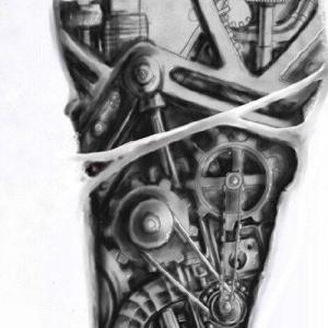 欧美3d机械腿纹身手稿图片