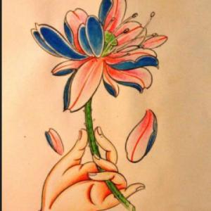 佛手莲花纹身手稿图片