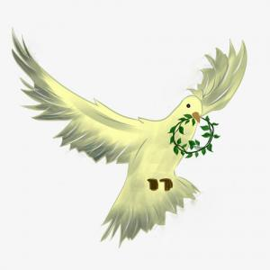 和平鸽携花环纹身手稿图片