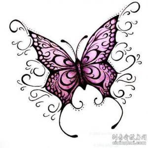 3d蝴蝶纹身手稿图片