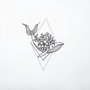 小清新花卉小鲸鱼纹身手稿图片