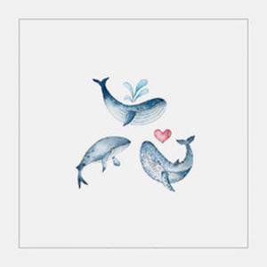 水彩小鲸鱼纹身手稿图片