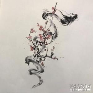 锁骨梅花纹身手稿图片