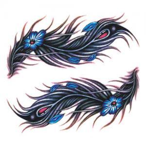 蓝色钻石羽毛剖腹产纹身手稿图片