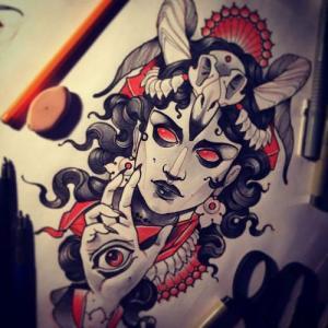 欧美女郎暗黑系纹身手稿图片