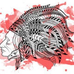 人物肖像黑红纹身手稿图片