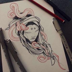 new school 女人蛇纹身手稿图片