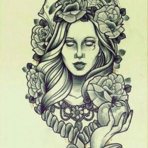 欧美school女人纹身手稿图片