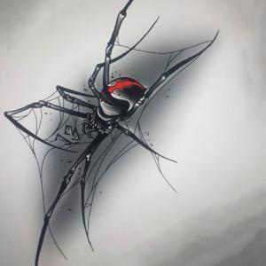 剧毒3d蜘蛛纹身手稿图片