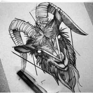 黑灰羊头纹身手稿图片