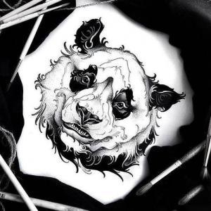 点刺熊猫纹身手稿图片