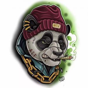 new school 熊猫纹身手稿图片