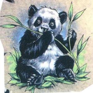 吃竹子的熊猫纹身手稿图片