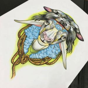 彩色羊头纹身手稿图片
