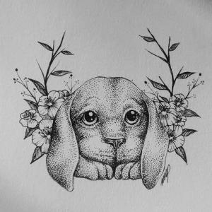 素描小狗纹身手稿图片