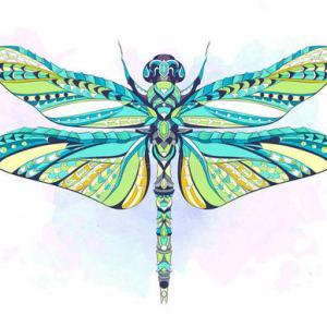 创意蜻蜓图腾纹身手稿图片