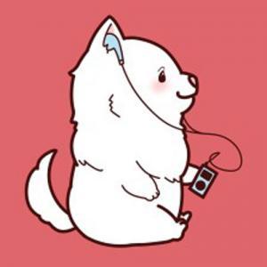 卡通听歌的小狗纹身手稿图片