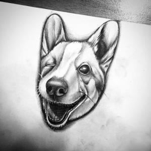 黑灰写实微笑小狗纹身手稿图片