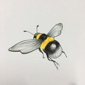 写实蜜蜂纹身手稿图片