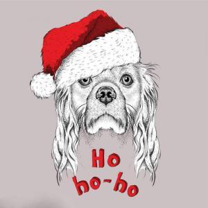 创意戴圣诞帽的狗狗纹身手稿图片