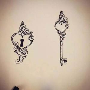 爱心钥匙与锁纹身手稿图片
