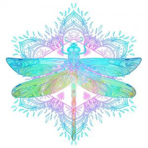 彩色蜻蜓纹身手稿图片