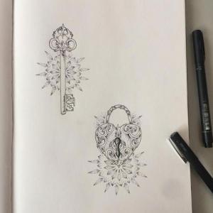 个性情侣锁.钥匙纹身手稿图片