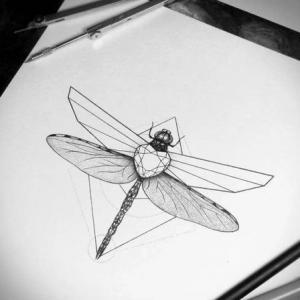 个性蜻蜓纹身手稿图片