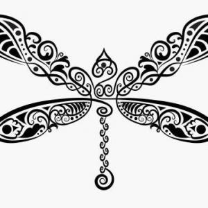 创意花纹蜻蜓纹身手稿图片