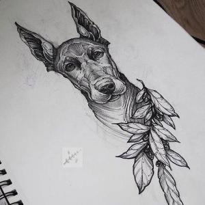 黑灰小狗纹身手稿图片