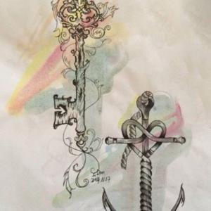 情侣船锚钥匙纹身手稿图片