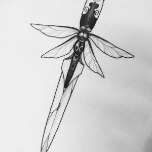 创意个性匕首蜻蜓纹身手稿图片