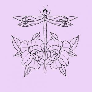 蜻蜓玫瑰纹身手稿图片