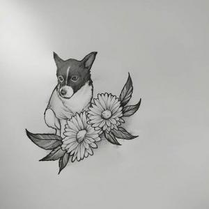 素描小狗花朵纹身手稿图片