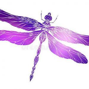 剪影紫色蜻蜓纹身手稿图片