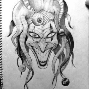 创意邪恶小丑纹身手稿图片