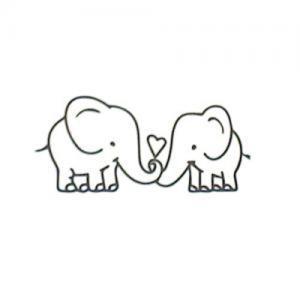 情侣爱心小象纹身手稿图片