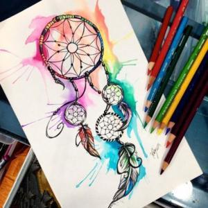 彩色水墨捕梦网纹身手稿图片