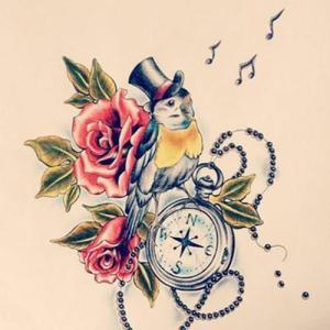 指南针玫瑰花纹身手稿图片