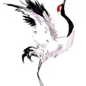 彩色水墨仙鹤纹身手稿图片