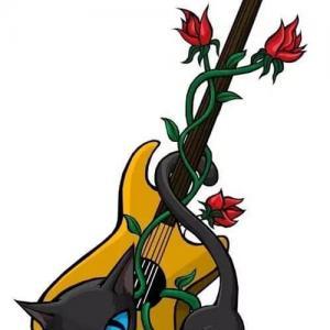 创意玫瑰猫咪吉他纹身手稿图片