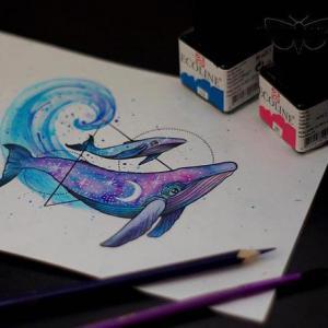 鲸鱼色彩星空简约纹身手稿图片