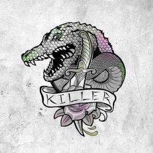 创意黑灰鳄鱼纹身手稿图片