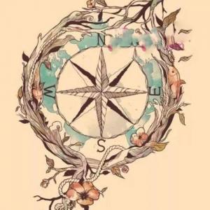 创意小清新唯美指南针纹身手稿图片