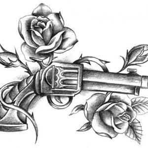 黑灰玫瑰花手枪纹身手稿图片